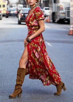 red long floral dress brown boots. Street summer women fashion outfit clothing style apparel @roressclothes closet ideas