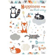 20€ berceaumagique.com Stickers A3 maki & kitsune by Sophie Cordier (29,7 x 42 cm) : Lilipinso - Stickers plusieurs animaux - Berceau Magique
