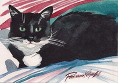 Print of Original Watercolor Painting Tuxedo Cat Kitty Kitten Black and White | eBay