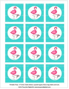 Pink Flamingo Thank you Party Circles