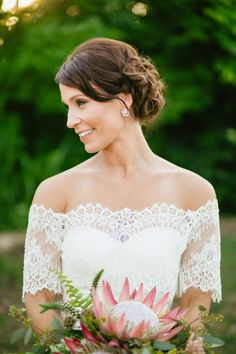 Off the shoulder wedding gown: http://www.stylemepretty.com/texas-weddings/dallas/2014/01/21/lakeside-wedding-at-the-filter-building/ | Photography: Sara & Rocky - http://saraandrocky.com/