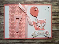 Geburtstagskarte für ein Mädchen mit Partyballons Foxy Friends So viele Jahre Bannerweise Grüße Itty Bitty in Flüsterweiss Calypso Espresso Kirschblüte und Wildleder, sowie DSP und Wink of Stella clear