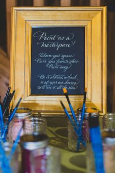 A Romantic Secret Garden Inspired Wedding | Ryan Zarichnak | Painting for Guests at the Reception - Such a cute idea!