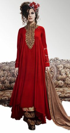 USD 129.44 Red Georgette Designer Party Wear Suit 43549