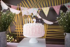 Pretty pink ruffle cake at a horse birthday party! See more party ideas at CatchMyParty.com!