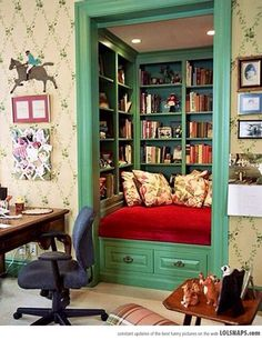 Closet transformed into a Book Nook - great idea!