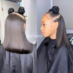Pinterest @QueenE93_ Black Kids Hairstyles, Girls Natural Hairstyles, Baby Girl Hairstyles, Baddie Hairstyles, Weave Hairstyles, Straight Hairstyles, Natural Hair Styles, Relaxed Hairstyles, Lace Front Wigs