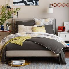 Low Upholstered Nailhead Bed   West Elm