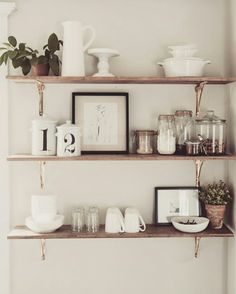 8 Ways Kitchen Shelves Will Rock Your World – You Need Open Shelving in Your Kitchen! – [pin_pinter_full_name] 8 Ways Kitchen Shelves Will Rock Your World – You Need Open Shelving… Farmhouse Kitchen Decor, Home Decor Kitchen, Home Kitchens, Kitchen Ideas, Modern Farmhouse, Farmhouse Style, Kitchen Plants, Modern Rustic, Kitchen Interior