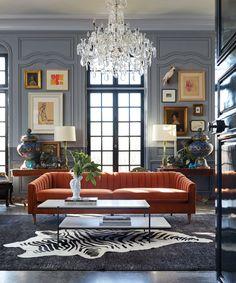 1930s Living Room, Victorian Living Room, Formal Living Rooms, Living Room Decor, Living Spaces, Orange Living Room Sofas, Parlor Room, Orange Sofa, Mid Century Design