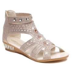 Rivets Rhinestones Low Wedge Sandals ($33) ❤ liked on Polyvore featuring shoes, sandals, rhinestone sandals, low wedge sandals, low heel wedge sandals and rhinestone shoes