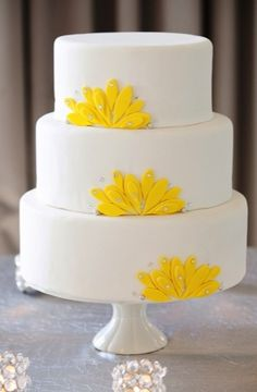 fondant, modern , sugar flowers, three tier, wedding cakes, white, yellow, sparkly, Spring, Summer, Dallas, Fort Worth, Texas