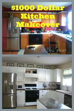 Full tutorials for all aspects of this less than $1000 Kitchen Remodel - Makeover