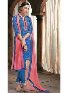 Blue Cotton Casual Wear Churidar Suit Shop Now : http://www.cfashionbazaar.com/