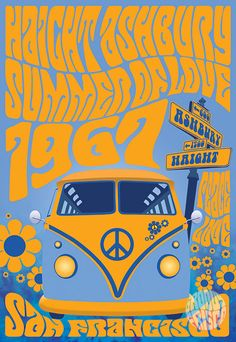 """Haight Ashbury Summer Of Love - featuring Haight Ashbury, Summer Of Love, 1967 and a Super Groovy VW Bus!! - 13"""" x 19"""" Giclee print on archival quality thick 50 lb. paper stock. (actual print has no watermark) - purchase @ www.groovyfrisco.com"""