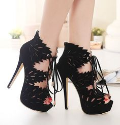 Black lace up platform sandals