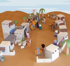 My Little House: Bible Paper Toys – Bethlehem Town -Paper craft Nativity Bible Story Crafts, Bible Stories, Paper Toys, Paper Crafts, 3d Paper, The Nativity Story, Bible Activities, Bible Resources, Vacation Bible School