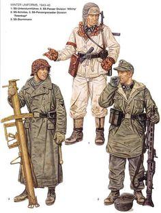 """Waffen SS Winter uniforms 1943 45 - 1 SS-Untersturmfuehrer, 5a Waffen ss Panzerdivision """"Wiking"""" . 2 SS-Shutzen, 3a Waffen SS Panzergrenadierendivision """"Totekopf"""" - 3 SS-Sturmmann"""