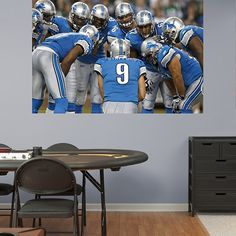Lions Huddle In Your Face Mural Wall Graphic | Detroit Lions Wall Decal | Sports Décor | Football Bedroom/Man Cave/Nursery