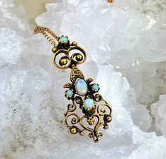 Antique Opal 14K Gold Pendant Victorian Gold Opal by Topcatvintage