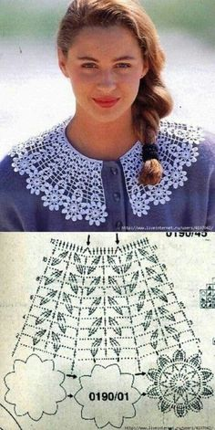 Women's Crochet Top Pattern PDF Japanese Pattern with Charts Ladies Jumper Pullover Yoke Sweater Dia Col Crochet, Crochet Collar Pattern, Crochet Lace Collar, Crochet Edging Patterns, Crochet Shirt, Filet Crochet, Crochet Motif, Crochet Flowers, Crochet Stitches