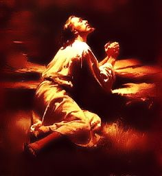 Jesus praying in the Garden of Gethsemane (Luke 22:39-46).