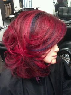 Graduated deep and bright rich reds and navy blue lowlights on Asian hair by Guy Tang | Yelp