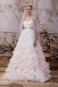 Monique Lhuillier blush gown at bridal market for fall 2014 | via junebugweddings.com