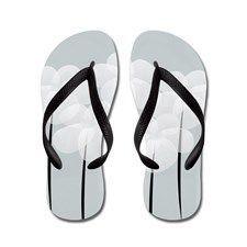 White Sheer Anemones Flip Flops