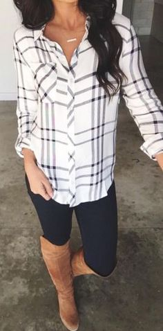 I love this outfit! I have been looking for a white/gray/black plaid button up forever. I often have a hard time with the fit because my shoulders and upper arms tend to fill these types of shirts out. A plaid shirt, dark skinnies and tall boots make for a perfect fall outfit!