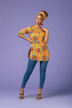 The Shalla Top is stunning in theColorful African Print. It's comfy to wear and will make sure you stand out in a crowd African American Fashion, African Inspired Fashion, Latest African Fashion Dresses, African Print Dresses, African Print Fashion, Africa Fashion, African Dress, African Blouses, African Shirts