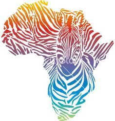 Map of africa in rainbow zebra camouflage vector - by ard on VectorStock®