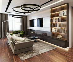 Best 50 TV Room Ideas for Your Home and Remodel - Home of Pondo - Home Design Living Room Tv, Living Room Lighting, Living Room Interior, Livingroom Lighting Ideas, Kitchen Interior, Dining Room, Plafond Design, Muebles Living, Luxury Living