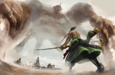A painting of zoro vs pica
