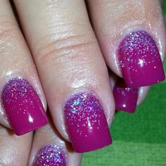 Acrylic nails with gelish in rendezvous and glitter fade. Gel polish.