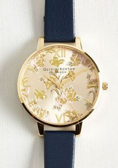 As Flowers Turn to Minutes Watch by Olivia Burton - Gold, Black, Floral, Work, Casual, Daytime Party