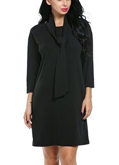 ACEVOG Women O-neck 3/4 SleevesTwo Side Pocket Black Dresses (X-Large, Black) *** Click on the image for additional details.
