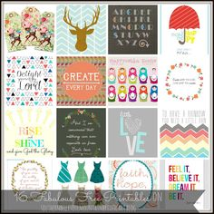 16 Fabulous Freebies from even more Fabulous People! (Free Printables)