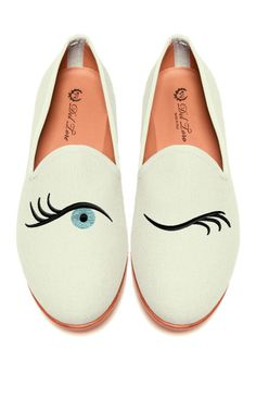 Shop Prince Albert Bone Canvas Slipper Loafers With Winking Eye Embroidery. These exclusive to M'O Del Toro slippers embody the Surrealist spirit of the illogical and the unexpected. Crazy Shoes, Me Too Shoes, Zapatos Shoes, Shoes Heels, Painted Shoes, Shoe Closet, Mode Style, Fashion Shoes, Fashion Fashion