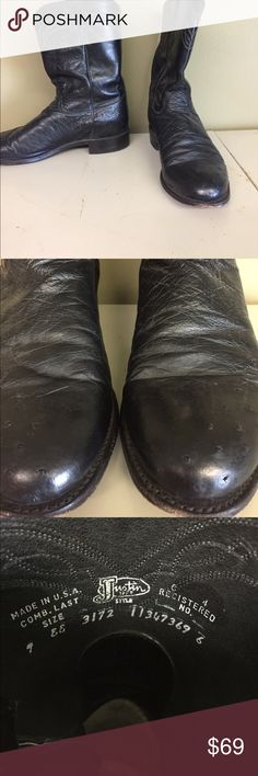 Justin  ostrich leather  boots Black ostrich/ leather boots  good condition Justin Boots Shoes Cowboy & Western Boots