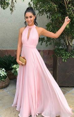 high neck pink long prom dress, cheap price prom dresses under 2019 prom dresses, pink prom dresses, chiffon long prom dress v-neck Pink Gown prom dress Prom Dresses Long Pink, Pink Party Dresses, Long Bridesmaid Dresses, Formal Dresses, Prom Long, Dress Prom, Formal Prom, Wedding Dresses, Evening Party Gowns