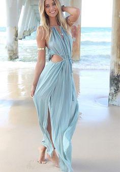 Blue Plain Sleeveless Maxi Dress