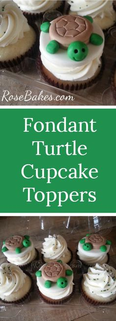 Turtle cupcake toppers or cake decoration that can be made from fondant or modeling chocolate.