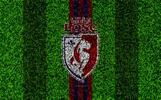 Download wallpapers Lille OSC, 4k, football lawn, logo, French football club, grass texture, emblem, red black lines, Ligue 1, Lille, France, football, Lille Olympique Sporting Club