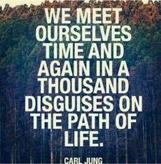 We meet ourselves time and again in a thousand disguises on the path of life. - Carl Jung # quotes by daisy The Words, Cool Words, Great Quotes, Quotes To Live By, Inspirational Quotes, Uplifting Quotes, Motivational, Words Quotes, Me Quotes