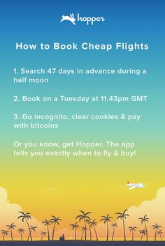 Hopper tells you when to fly & buy! Save up to 40% on your next flight.