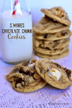 S'mores Chocolate Chunk Cookies. What's better than a chocolate chunk cookie with graham cracker pieces and melty, gooey marshmallows?!  Not much, I'd venture to say!  Many think of S'mores just in the summer time, but these addicting treasures can certai