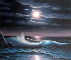 Night Moonlight Beach Rocks Ocean California Surf 20X24 Stretched Oil ...
