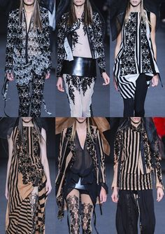 Ann Demeulemeester S/S 2014-Intricate Pattern Prints – Wisteria Blossoms – Bold and Regular Stripes – Decorative Flocking – Art Deco Inspired Flora – Monochromatic Colo...
