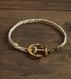 Gold Anchor Cord Bracelet